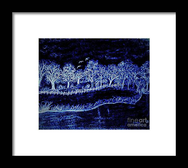 Pencil Framed Print featuring the drawing Lights On The Farm's Pond At Night by Debra Lynch