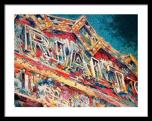 Framed Print featuring the painting Lights Out At The Rialto by Don Getz