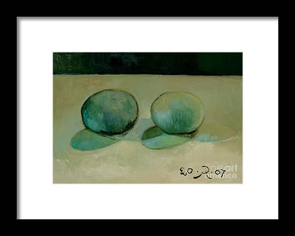 Still-life Reflection Pumpkins Framed Print featuring the painting Like in the rain by Raimonda Jatkeviciute-Kasparaviciene