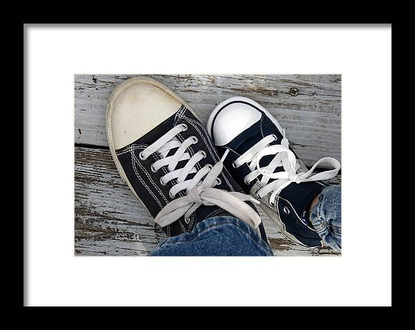 Sneakers Framed Print featuring the photograph Like Mother Like Son by Annie Babineau
