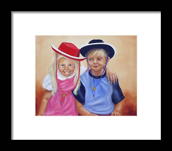 Child Framed Print featuring the painting Lil Pardners by Joni McPherson