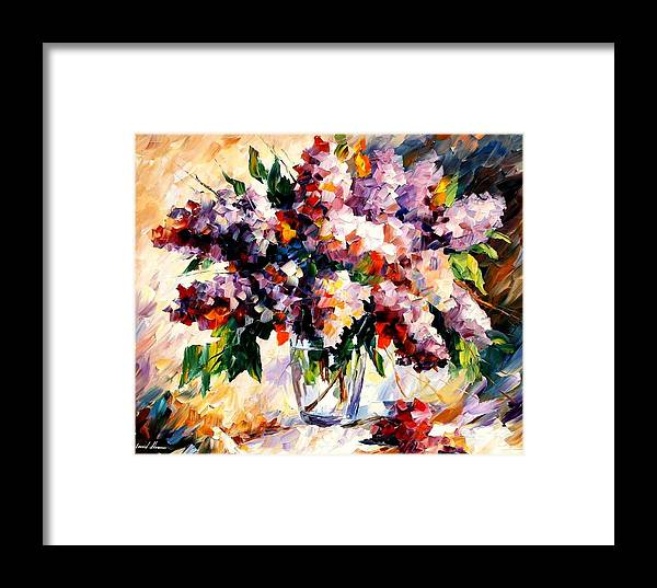 Afremov Framed Print featuring the painting Lilac - Morning Mood by Leonid Afremov