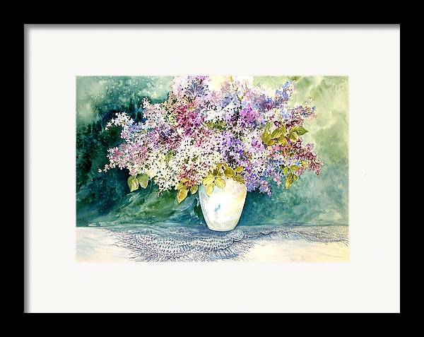 Lilacs;purple Lilacs;vase;floral Watercolor; Framed Print featuring the painting Lilacs And Lace by Lois Mountz