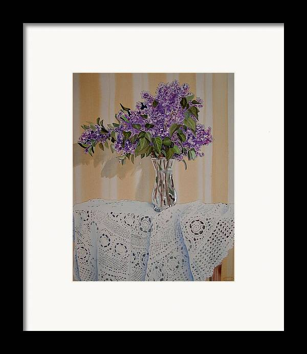 Original Watercolour Of Lilacs And Lace Framed Print featuring the painting Lilacs And Lace by Sharon Steinhaus