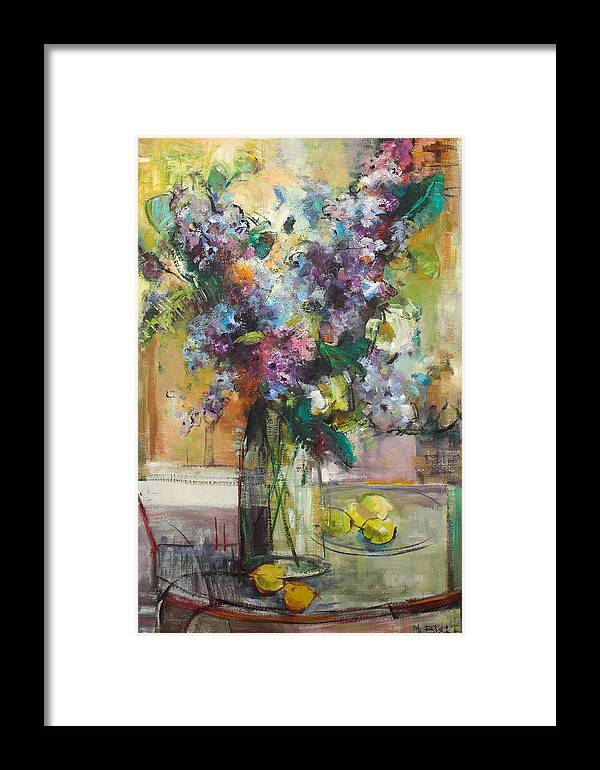 Lilacs Framed Print featuring the painting Lilacs And Lemons by Blake Originals - Marjorie and Beverly