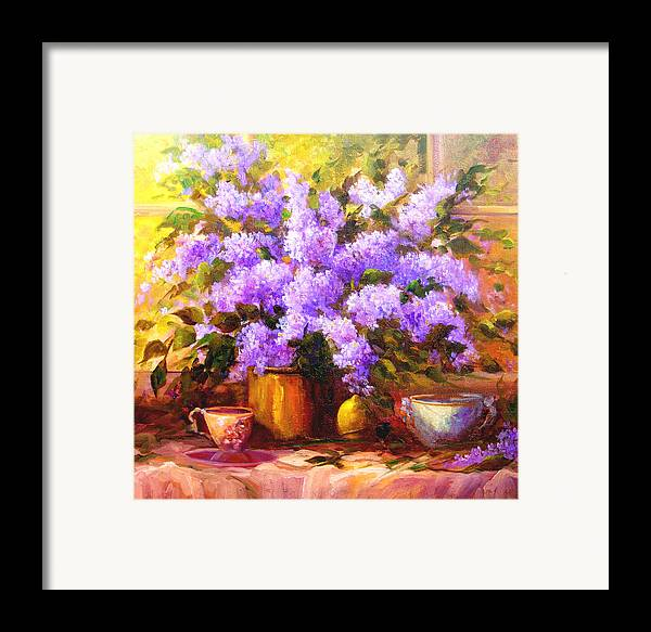 Lilacs Framed Print featuring the painting Lilacs by Gail Salitui