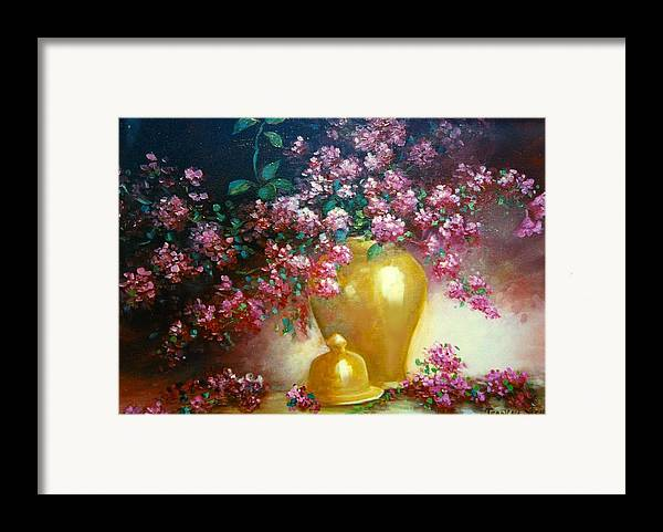 Lilacs Framed Print featuring the digital art Lilacs In Gold Vase by Jeanene Stein