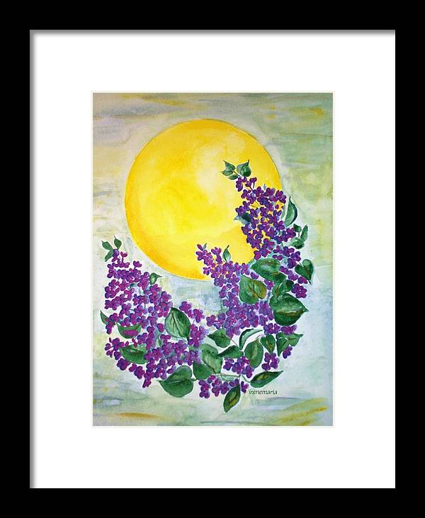 Lilacs In June Framed Print featuring the painting Lilacs In The Midnight Sun by Irenemaria Amoroso