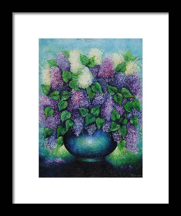 Flowers Framed Print featuring the painting Lilacs No 1. by Evgenia Davidov