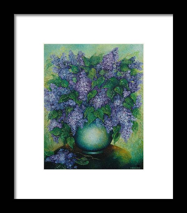 Flowers Framed Print featuring the painting Lilacs No 2. by Evgenia Davidov