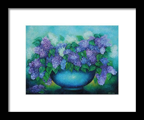 Flowers Framed Print featuring the painting Lilacs No 3. by Evgenia Davidov