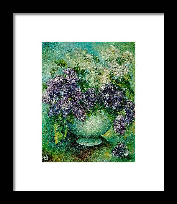 Flowers Framed Print featuring the painting Lilacs No 4. by Evgenia Davidov