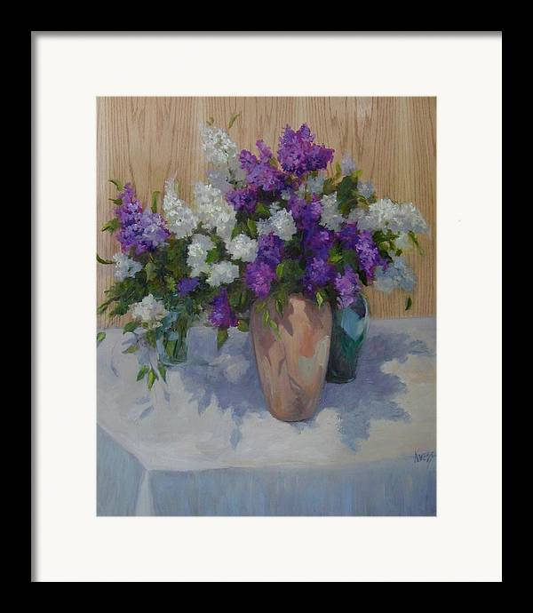 Lilacs Framed Print featuring the painting Lilacs by Patricia Kness