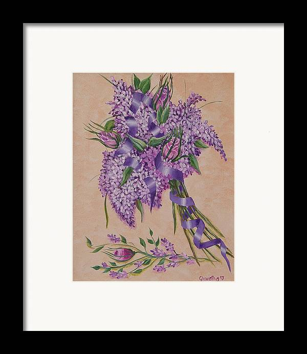 Lilacs Framed Print featuring the painting Lilacs by Quwatha Valentine