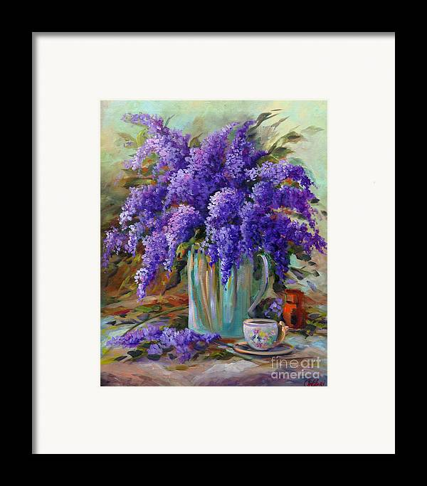 Florals Framed Print featuring the painting Lilacs Still Life by Gail Salitui