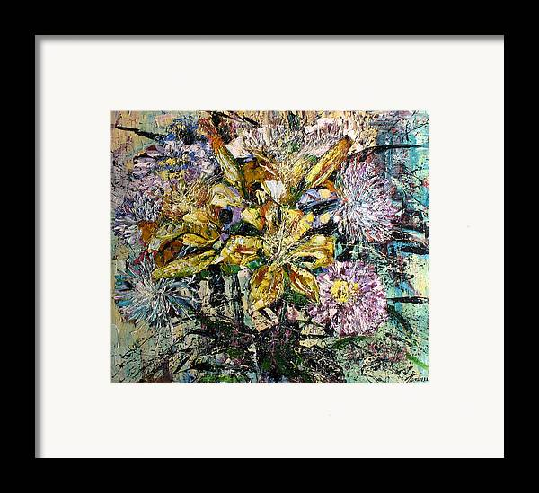Still Life Framed Print featuring the painting Lilies And Chrysanthemums.1999 by Natalia Piacheva