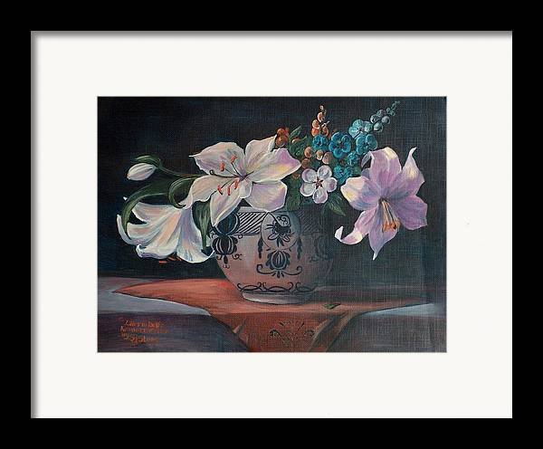 Flower Framed Print featuring the painting Lilies In Delft by Sylvia Stone
