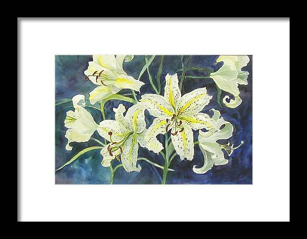Floral;lilies; Framed Print featuring the painting Lilies So White by Lois Mountz
