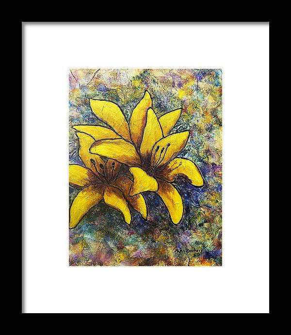 Flowers Framed Print featuring the painting Lilies by Tami Booher