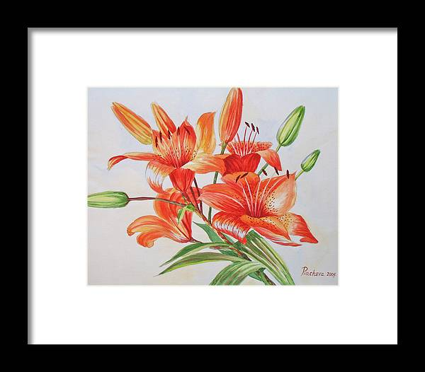 Floral Framed Print featuring the painting Lilies.2007 by Natalia Piacheva