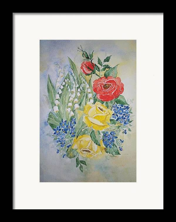 Roses Flowers Framed Print featuring the painting Lilly Of The Valley In Good Company by Irenemaria Amoroso