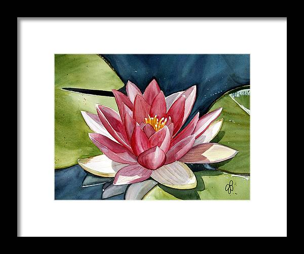 Water Lilly Flower Framed Print featuring the painting Lilly Pond by Julie Pflanzer