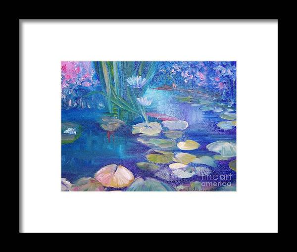 Water Framed Print featuring the painting Lillypads by Judy Groves