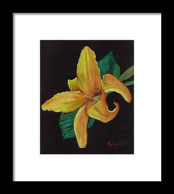 Flower Framed Print featuring the pastel Lily 1 by Mendy Pedersen