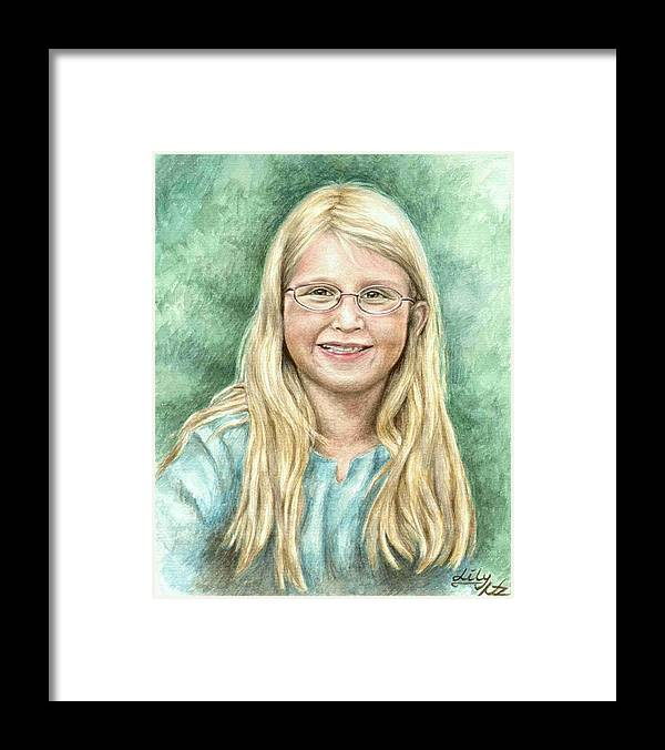 Girl Framed Print featuring the painting Lily by Nicole Zeug