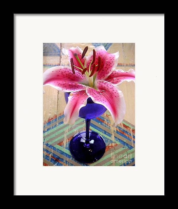 Nature Framed Print featuring the photograph Lily On A Painted Table by Lucyna A M Green