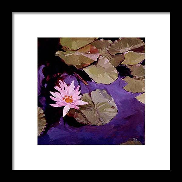 Water Lily Paintings Framed Print featuring the painting Lily Pad by Betty Jean Billups