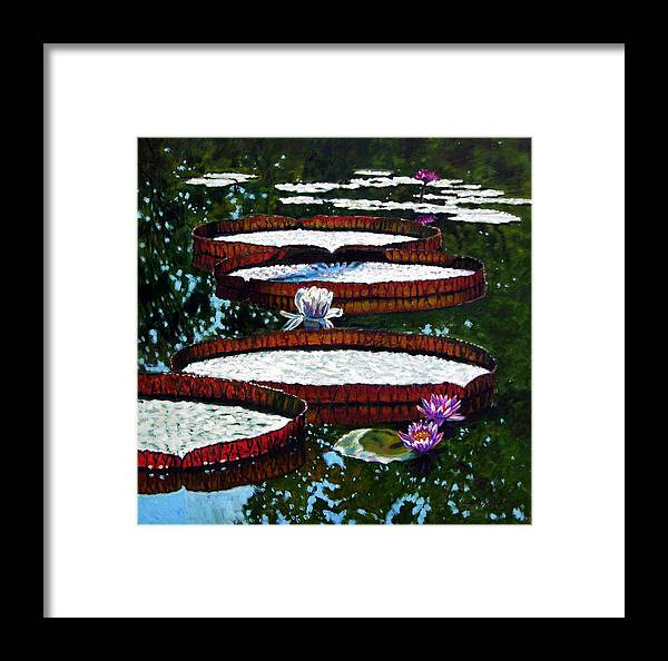 Garden Pond Framed Print featuring the painting Lily Pad Highlights by John Lautermilch