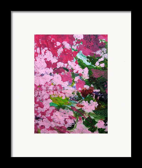 Abstract Framed Print featuring the painting Lily Pads by Kim Putney