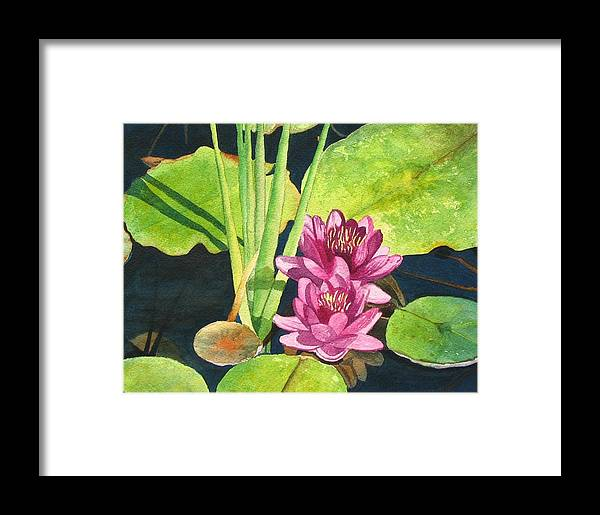 Lily Pads Framed Print featuring the painting Lily Pads by Sharon Farber