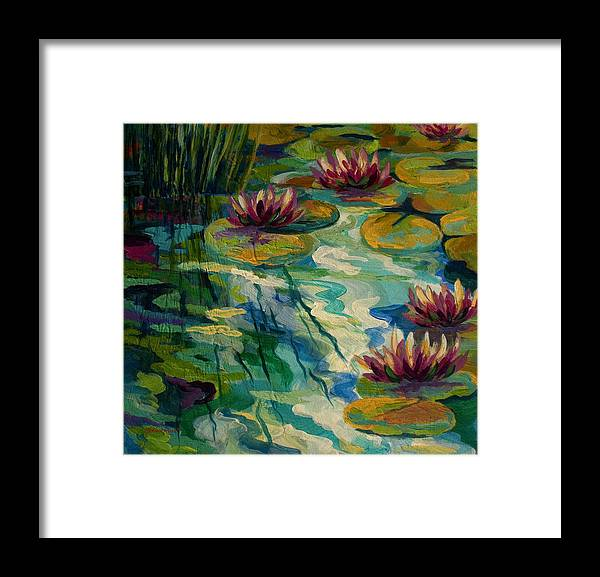 Water Lily Framed Print featuring the painting Lily Pond II by Marion Rose