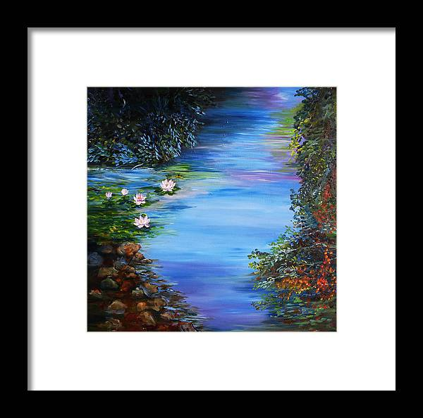 Lily Framed Print featuring the painting Lily Pond by Mary Jo Zorad