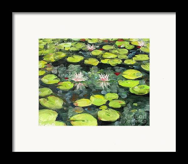 Pond Framed Print featuring the painting Lily Pond by Paul Walsh
