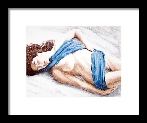 Joe Ogle Framed Print featuring the painting Lily-When Angels Sleep by Joseph Ogle
