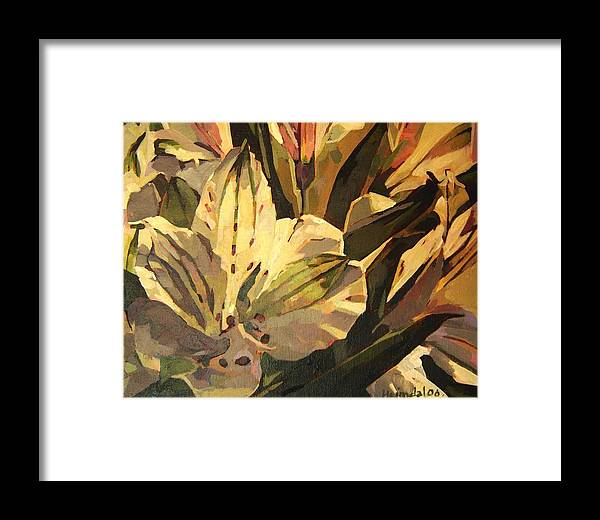 Tim Heimdal Framed Print featuring the painting Lily White by Tim Heimdal