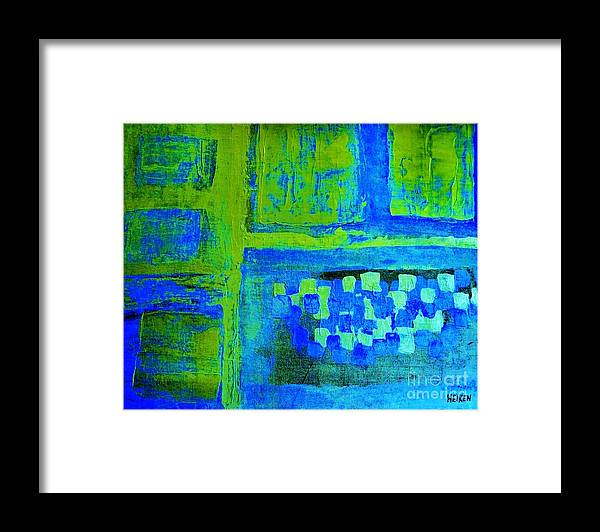 Painting Framed Print featuring the painting Lime Blue Abstract by Marsha Heiken