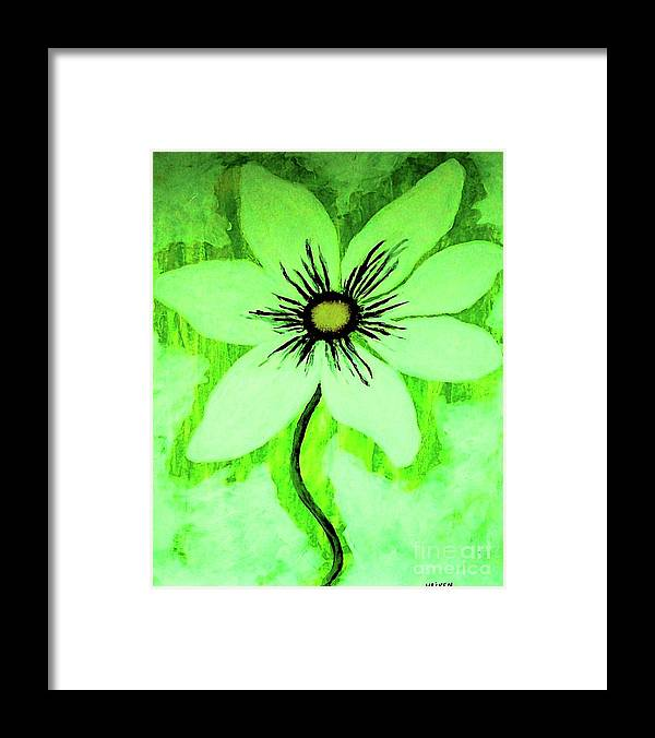 Painting Framed Print featuring the painting Lime Daisy by Marsha Heiken