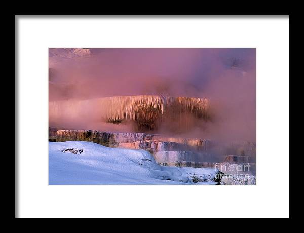North America Framed Print featuring the photograph Limestone Artwork Minerva Springs Yellowstone National Park by Dave Welling