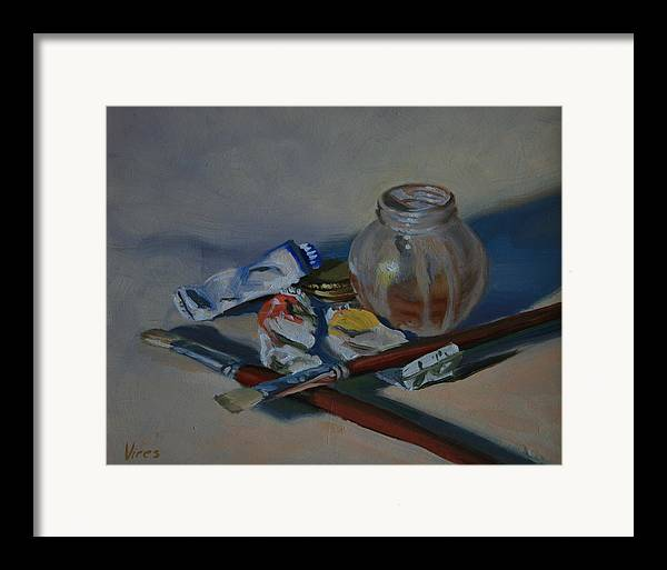 Still Life Framed Print featuring the painting Limited Palette by Michael Vires