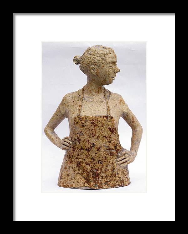 Sculpture Framed Print featuring the sculpture Lina the Ceramist by Raimonda Jatkeviciute-Kasparaviciene