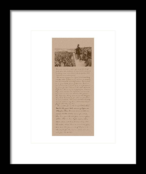 Abraham Lincoln Framed Print featuring the mixed media Lincoln and The Gettysburg Address by War Is Hell Store