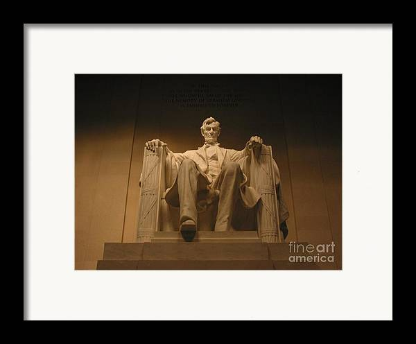 Abraham Lincoln Framed Print featuring the photograph Lincoln Memorial by Brian McDunn