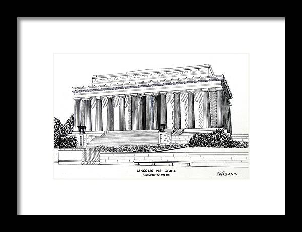 Ink Drawings Framed Print featuring the drawing Lincoln Memorial by Frederic Kohli