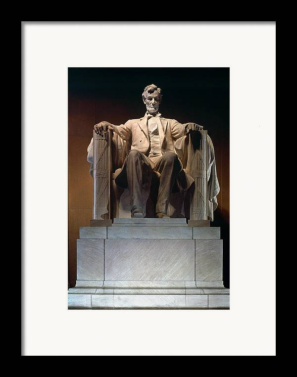 19th Century Framed Print featuring the photograph Lincoln Memorial: Statue by Granger