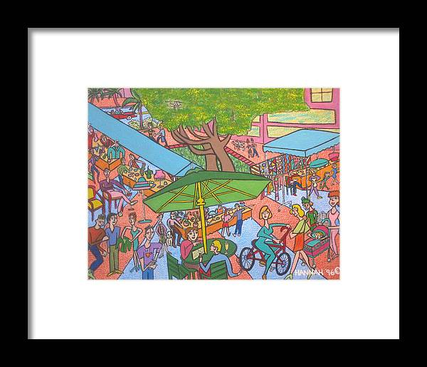 Scene Framed Print featuring the painting Lincoln Road Flea Market by Hannah Lasky