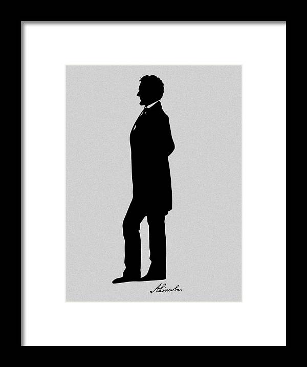 Abraham Lincoln Framed Print featuring the digital art Lincoln Silhouette and Signature by War Is Hell Store
